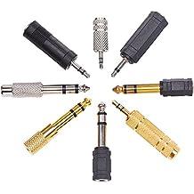 eBoot Adattatore Audio 6.35 mm a 3.5mm Cavo Audio Stereo Treccia 8 Pezzi di Adattamento Per Strumento, Cuffie Adattatore Oro Adattatore Stereo 6.35 mm a 3.5 mm, 3.5 mm 2.5 mm Spina Adapter Audio Mic