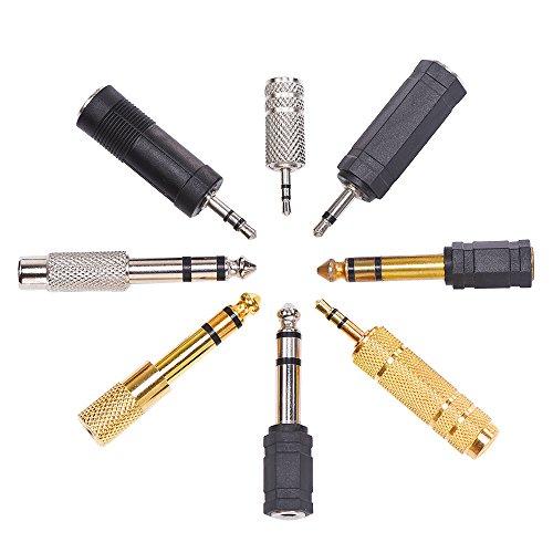 eBoot 8 Stück Instrument Adapter, Kopfhörer Adapter Gold Stereo Adapter 6,35 mm bis 3,5 mm, 3,5 mm bis 2,5 mm Audio Mic-Stecker-Adapter