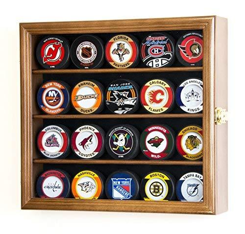 20Hockey Puck Display Fall Kabinett Inhaber Wand Rack 98% UV-Schutz, Walnut Finish (Hockey-puck Fällen)