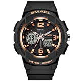 Adisaer Herrenuhr Wasserdicht Wasserdicht Herrenuhr Multifunktional Schwarz Gold Outdoor Sportuhr Armbanduhr Automatikuhr