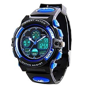 Kinder Digital Sportuhren – Jungen Wasserdichte Sportuhr mit Wecker Stoppuhr, analoge LED Armbanduhr mit Chronograph Wecker für Kinder Uhren