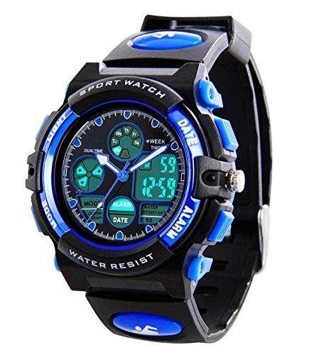 g shock kinder Kinder Digital Sportuhren - Jungen wasserdichte Sportuhr mit Wecker Stoppuhr, analoge LED Armbanduhr mit Chronograph Wecker für Kinder Uhren (1163)