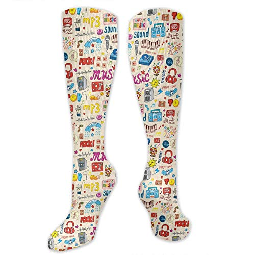 VVIANS Personalized Compression Socks,Retro Pop Art Style Music Icons Casette Tapes Records Rock Headphones DJ Kids Image,Best Medical,for Running,Hiking,Varicose Veins,Circulation & Recovery
