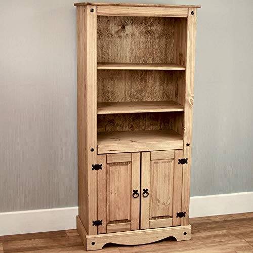 Home Discount Corona Bücherregal 2 tür Display Einheit Kiefer massiv Holz Distressed gewachst -