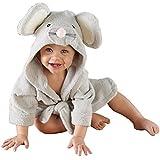 ARAUS-Baby Bademantel süße Badetuch Babyhandtuch mit Kapuze Tiermuster Badekleidung Mausmuster S