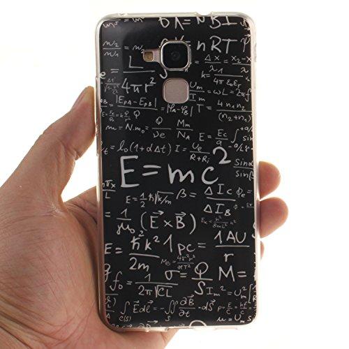 Ukayfe Custodia per Huawei Honor 5C,Ultra Slim TPU Gel Gomma Silicone Copertura Case per Huawei Honor 5C,Moda Serie Pattern Back Cover Crystal Skin Custodia Stilosa custodia di design Protettiva Shell formula matematica