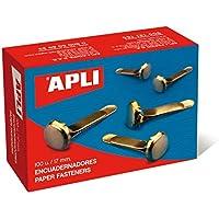 APLI 12284 - Encuadernadores metálicos dorados (17 mm), 100 unidades
