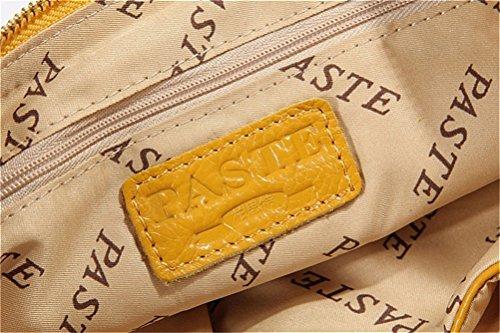 SONGQEE  10.53*6.24( H )*0.78( D ), Damen Schultertasche weiß beige Gelb/Schwarz