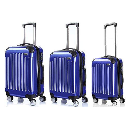 LDUDU ® Valigia Ligida Trolley Valigia Valigia con Ruote, 77 cm, 95 Litri, 4 Ruote, Blu reale