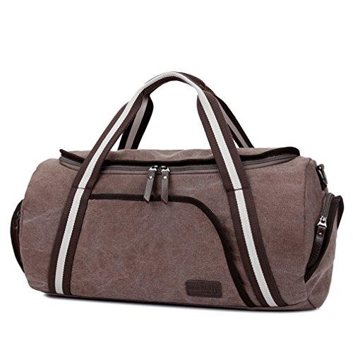 Reisetasche klein herren Wochenend-Reisetasche für 2-3 Tage Reise-Qualitäts-Camping Messenger Tasche Mehrzweck Sporty Gear Bag (Schwarz) Braun