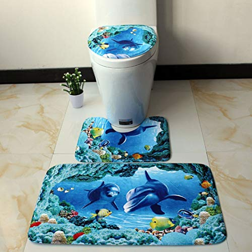 LIZHIOO Badematte 3pc Badezimmer Mat Antirutsch Ocean World Flanell Teppiche Pedestal Teppich Deckel Toiletten-Abdeckung Bodenmatte Pad Badezimmer (Color : F)