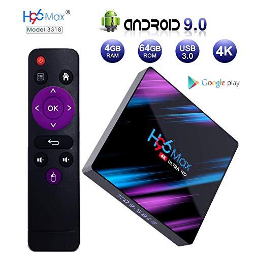 Android 9.0 TV Box, H96 MAX 4GB 64GB Android Box USB