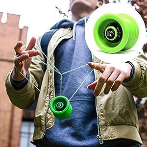 YoyoFactory Velocity Yo-Yo - Verde (De Principiante a Profesional, Juego Yoyo Moderno, Rodamiento de Bolas de Metal, Cuerda e Instrucciones Incluidas)