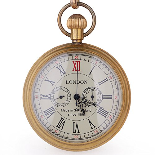 Kupfer Antik LONDON Pocket & Schlüsselanhänger Uhren Mechanische Uhr Hand Wind Skelett Herren Taschenuhr mit Kette Weihnachts Geschenk-Box (Männer Für Steampunk Pocket-uhren)