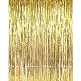 Plzlm Decoración de la Hoja de Oro de la Franja de Las Cortinas para Puertas Cortina de la Ventana Foto contexto cumpleaños Fiesta de Año Nuevo