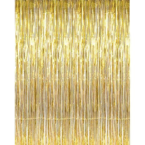 Providethebest Gold Foil Fringe Curtains Door Window Curtain Photo Backdrop Birthday New Year Party Decoration
