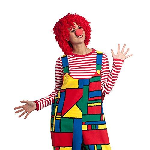 n Perücke rot Wolltünnes mit Clownnase Einheitsgröße Erwachsene ()