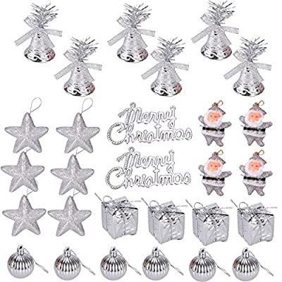 LUOEM Christmas Tree Ornaments Glitter Mini Jingle Bells Stars Balls Santa Gifts Boxes Merry Christmas Tag Hanging Decoration 28pcs (Silver)
