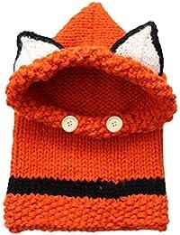 Vivianu unisex bambino cappello invernale sciarpa set cappello lavorato a  maglia Wrap cutest Cartoon Animal Hood cec28969b051