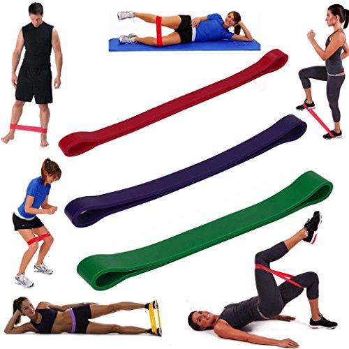 Neu 2/3/5/6PCS Fitnessstudio Fitness Gürtel sunnymi Yoga-Rallye-Band,Bodybuilding Widerstand Übung, Home Gym Fitness, Premium Naturlatex (Lila & Grün & Rot, 3pcs)