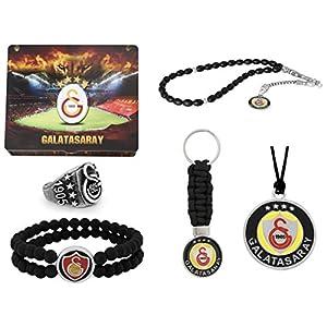 Gök-Turk Handgemachte Schatulle Schmuck-Set 'Galatasaray GS' für Herren: Set aus Halskette, Ring, Armband, Gebetskette – Tesbih, Schlüsselanhänger