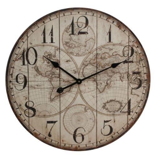 Windsor Basilia Horloge murale Motif carte du monde 60 cm