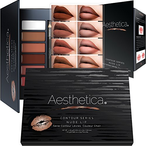 Aesthetica Nude Lip Contour Kit - Contouring and Highlighting Matte Lipstick Palette Set - Includes Six Lip CrÚmes, Four Lip Liners, Lip Brush and Step-by-Step Instructions - Vegan & Cruelty Free
