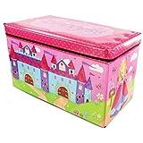 Zizzi - Niños niños almacenaje grande toy box chicos chicas libros pecho ropa asiento taburete shopmonk (princesa)
