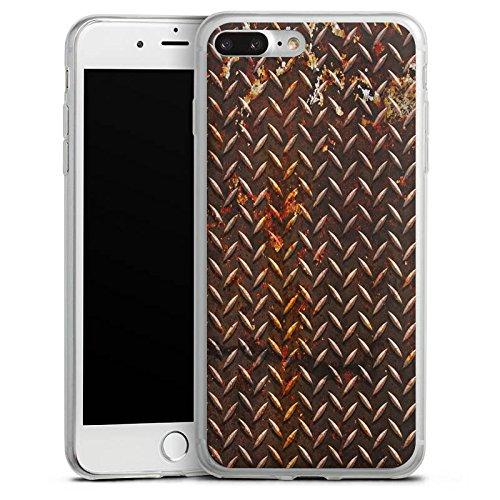 Apple iPhone 8 Plus Slim Case Silikon Hülle Schutzhülle Rost Look Metall Braun Silikon Slim Case transparent