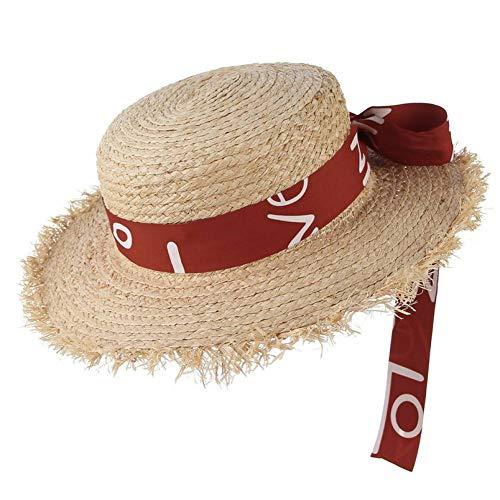 OECHWOZG Rotes Band -Bogen -Strohhut-Boater -Sommer -Hut für Frauen NeueReiseSonnenhutWoven Wide Brim Lady Strand Cap Camouflage Womens Hut