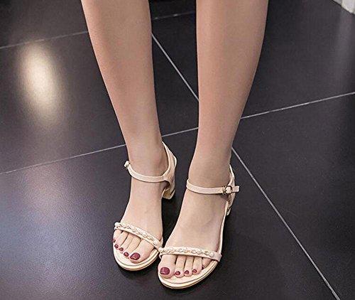 GLTER Frauen-Knöchel-Bügel-Pumpen Sommer-neue Frauen Schuhe Einfache bequeme Korne mit starken hoch-heeled Sandalen-Gerichts-Schuhen Aprikosen-Schwarzes apricot