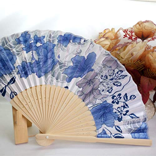 Portable Fan Japanese Frauen Hand Faltfächer Nr. 8 Schöne Kirsche Farbe Satin Fan mit Bambus Rahmen - Cyan