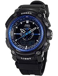 OHSEN LCD Dual Core para hombre Mujer Deporte Fecha Día azul cronómetro Negro Goma Reloj de regalo