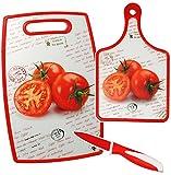 3 tlg. Set: Messer & 2 Schneidebretter / Frühstücksbrett - ' Tomaten ' - aus hitzebeständigen Kunststoff & Silikon - RUTSCHFEST - Untersetzer / Unterlage Topf - Allzweckmesser / Küchenmesser - Tischunterlage - Schneidebrett - Frühstücksbrettchen / Platzdeckchen für Kinder & Erwachsene - Eßunterlage Küchenhelfer - Pfannenuntersetzer