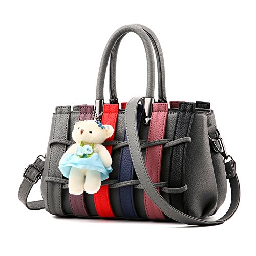 Magic Zone Women Handbags Color Band Top-handle Tote Ladies Bags