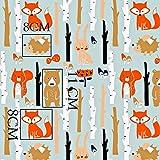 Fuchs Hase Wald 100% Baumwolle Baumwollstoff Kinderstoff