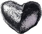 Wilson Gabor Paillettenkissen: Deko-Pailletten-Kissen in Herzform, Velours, schwarz/silbern