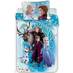 Disney Reine des Neiges Frozen Familly - Parure de Lit - Housse de Couette Coton