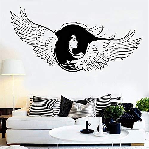 alicefen Engel Flügel Applique Schöne Mädchen Gesicht Lange Haare Wandaufkleber Ausgangsdekor Wandbild Schlafzimmer Wand Vinyl Abnehmbare Schwarz 113 * 56 (Lange Schwarze Engel Flügel)