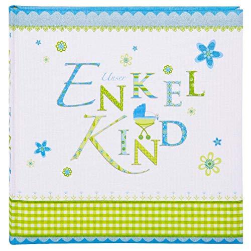 Goldbuch Enkelkindalbum, Lovely, 25 x 25 cm, 60 weiße Blankoseiten mit Pergamin-Trennblättern, Leinen bedruckt, Blau, 24086