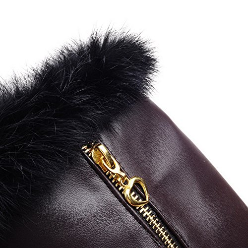 AgooLar Damen Hoher Absatz Weiches Material Hoch-Spitze Rein Reißverschluss Stiefel Braun