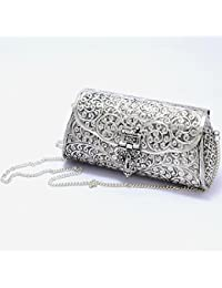 GiftingBestWishes Silver Metal Clutch Cum Sling Bag With Strong Metal Chain For Women - B078JH3WRK
