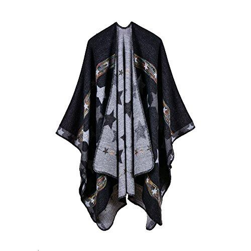 cff5078e151d8 Femme Cape Poncho Extra Large écharpe Châle Blanket Poncho Automne Hiver  (One size, Étoiles / Noir)
