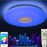 HOREVO 36W LED Deckenleuchte mit Bluetooth Lautsprecher, Musik Deckenlampe, [ Smartphone APP Kontrolle mit 2.4G Fernbedienung ] [ Ø50cm Dimmbar ], LED Deckenlampe [ AC95V-265V, Fernbedienung enthalten]