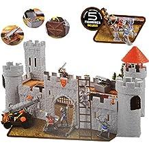 Komplettset: Ritterburg / Burg - mit Gefängnis + Ritter + Schatztruhe + Zubehör - für Kinder zum Spielen + Bauen aus Plastik / Kunststoff - Deko Tier - Spielwelt Spielset