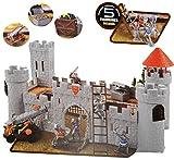 Komplettset: - ' Ritterburg / Burg ' - mit Gefängnis + Ritter + Schatztruhe + Zubehör - zum Spielen + Bauen aus Plastik / Kunststoff - Deko Tier - Spielwelt Spielset - für Kinder / Jungen