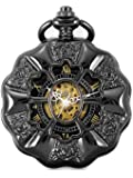 Alienwork Retro mechanical Pocket Watch Skeleton Hand-wind engraved Metal black black W891-03