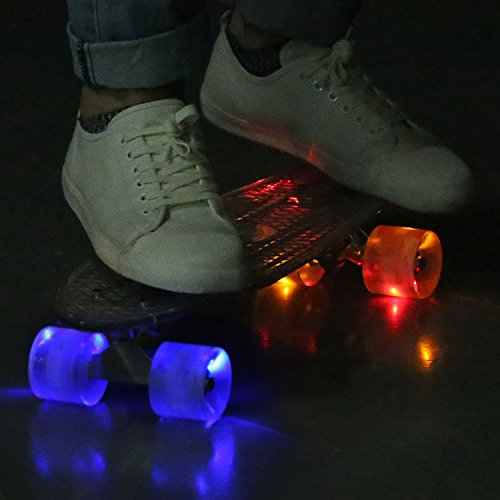 Ancheer Mini-Cruiser-Skateboard 55cm Skateboard mit oder ohne LED Deck,alle mit LED Leuchtrollen,Farbe:Deck in Weiß ohne LED / Rollen in Rot mit LED -