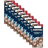 60 x Batterien Rayovac 04607, Zinc Air, Hearing Aid, 312, Hörgerätebatterien, 13, 1.4V, 10 x 6er Pack