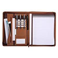 Leathario A4 Schreibmappe Portfolio Dokumenten-Mappe Konferenzmappe Reißverschluss, inkl. Schreibblock,Lederoptik Braun